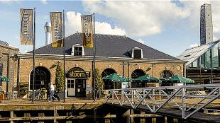 Buitenaanzicht restaurant Stoom van feestlocatie De Kampanje in Den Helder (foto leukefeesten.nl)
