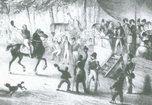 J.B. Clermans - Harddraverij in de Alkmaarder Hout (rechterdeel van de tekening, foto Archief NDR)