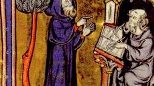 Merlijn dicteert het boek van de Graal aan Blaise (foto PHystorique- Les Ports de Temps)