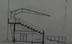 Tekening van de doorsnee van de tribune in 1930 (Archief NDR)