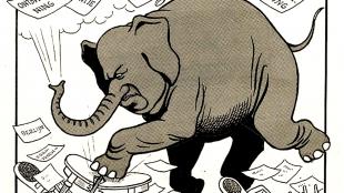 Toen kwam, die blies het sprookje uit een olifant met een lange snuit (foto Collectie Atlas Van Stolk/Geheugen van Nederland)