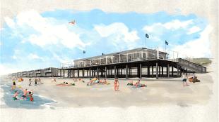 Idee van eigenaar Jan Dronkers van Beachclub Citadel, links van de strandtent wil hij de veertig huisjes laten bouwen (foto Citadel)