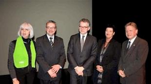 V.l.n.r. voorzitter CDA bestuur Den Helder Fia Smit, presentator Kees Turnhout, burgemeester Koen Schuiling, Marja Doedens (Maritime Campus) en lijsttrekker CDA Provinciale Staten Jaap Bond (foto CDA)