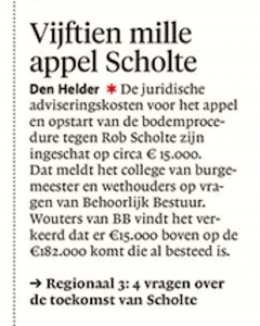 Vijftien mille appel Scholte, Helderse Courant, 1 december 2017