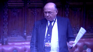 Lord James of Blackheath in the House of Lords on February 16 2012 (foto YouTube)