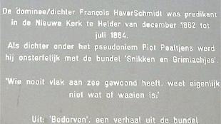 Plaquette Nieuwe Kerk Den Helder (foto Piet Paaltjes Dichter-dominee 1835-1894)