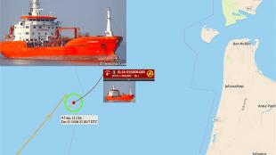Positie Elsa Essberger (foto Maritime Bulletin)