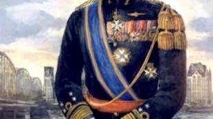 Anonymous - Z.K.H. Prins Bernhard in het uniform van Generaal der mariniers, geschilderd tegen de achtergrond Maasbruggen te Rotterdam (foto Maritiem Digitaal)