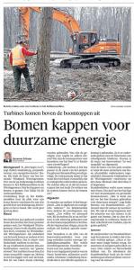 Liesanne Schoon - Bomen kappen voor duurzame energie, Helderse Courant, 10 maart 2018