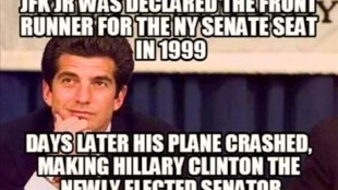JFK Jr. was declared the frontrunner for the NY Senate seat 1999; Days later his plane crashed making Hillary Clinton the newly elected senator (foto Before It's News)