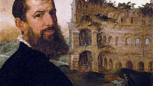 Maerten van Heemskerck - Self portrait with the Colosseum