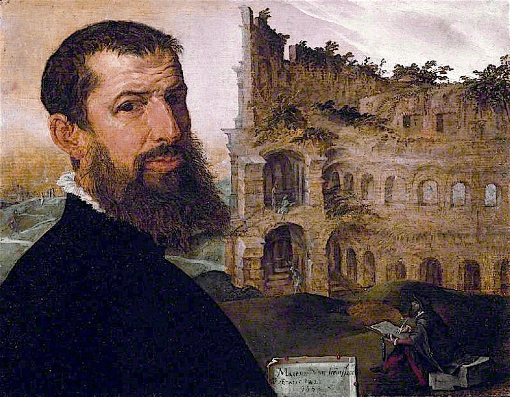 Maerten van Heemskerck – Self portrait with the Colosseum