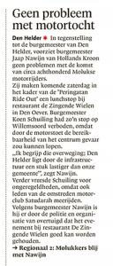 Michiel Snik - Geen probleem met motortocht, Helderse Courant, 10 april 2018