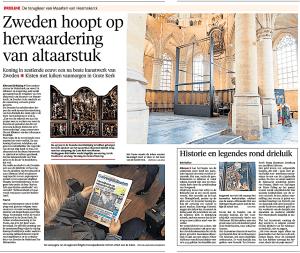 Rob Bakker - Zweden hoopt op herwaardering van altaarstuk, Alkmaarse Courant, 14 april 2018