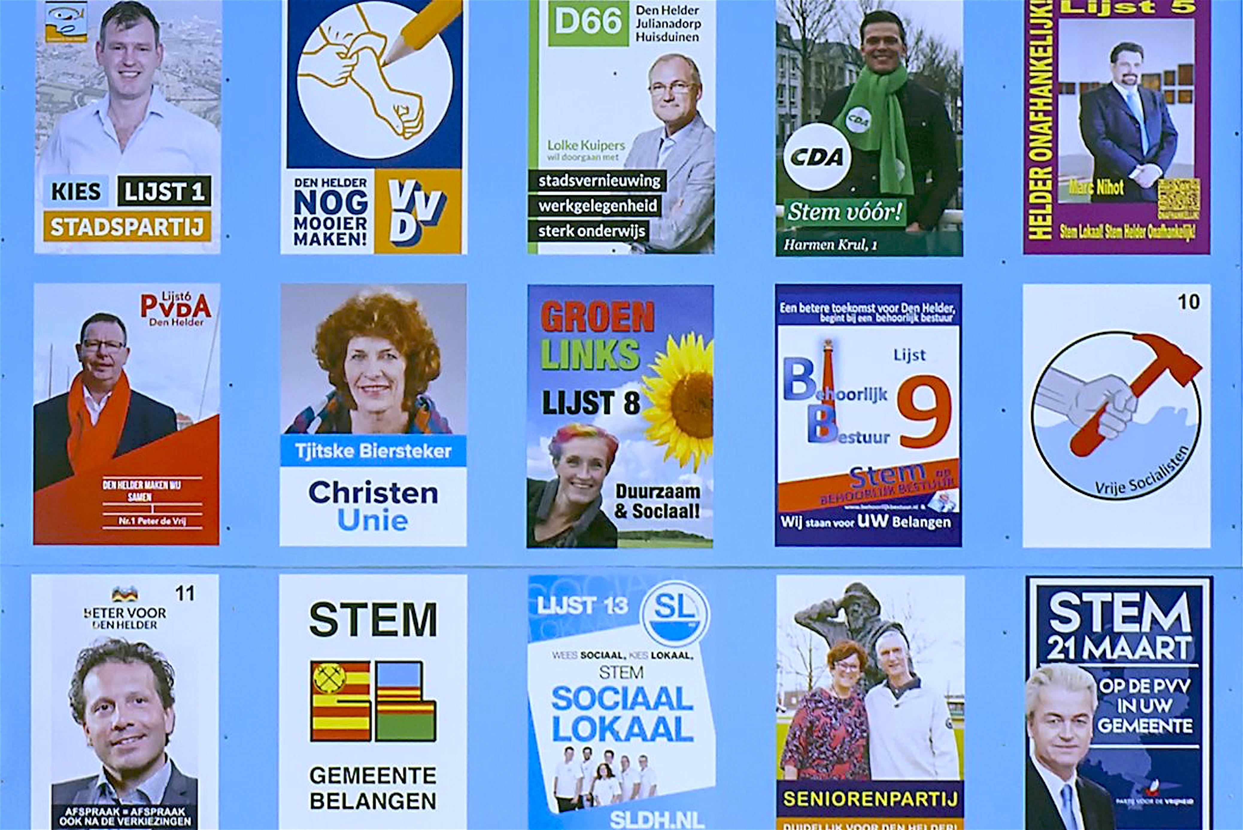 Verkiezingsbord Den Helder 2018 (foto DHA)