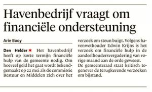 Arie Booy - Havenbedrijf vraagt om financiële ondersteuning, Helderse Courant, 12 mei 2018