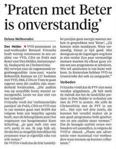 Delano Weltevreden - 'Praten met Beter is onverstandig', Helderse Courant, 15 mei 2018