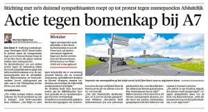 Mike Deutekom - Actie tegen bomenkap bij A7, Schager Courant, 14 mei 2018