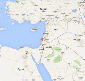 The Red Marker identifies Tel Megiddo (aka Armageddon) in Israël (foto Before It's News)
