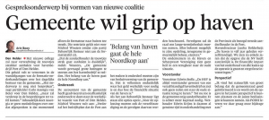 Arie Booy - Gemeente wil grip op haven, Helderse Courant, 14 juni 2018