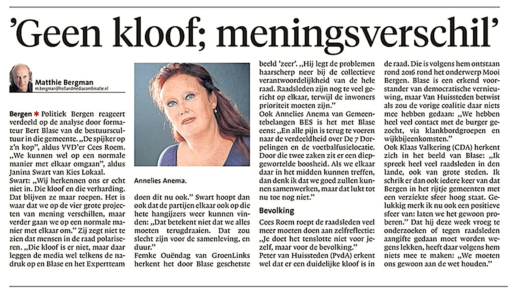 Alkmaarse Courant, 9 juni 2018