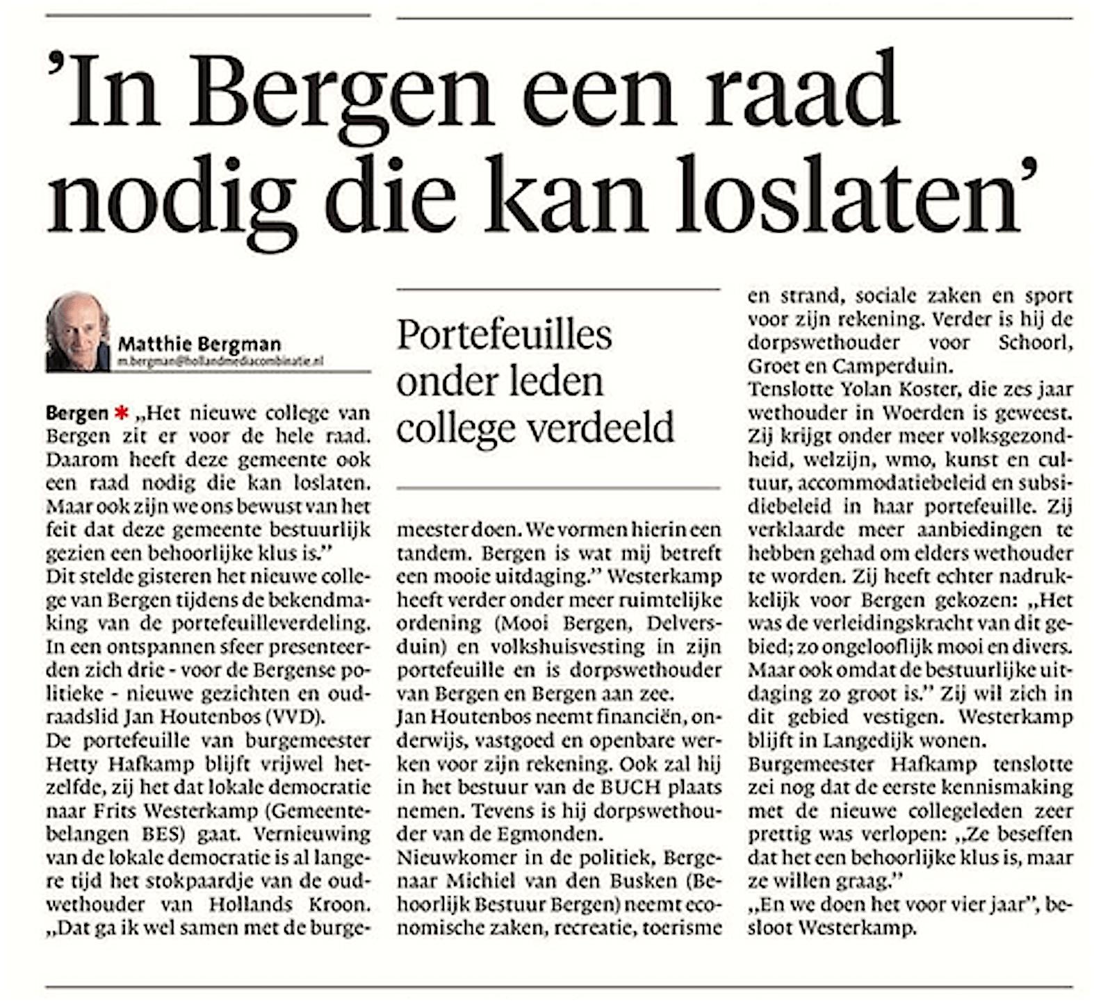 Alkmaarse Courant, 6 juni 2018