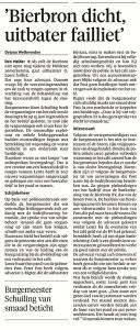 Delano Weltevreden - 'Bierbron dicht, uitbater failliet, Helderse Courant, 4 juli 2018