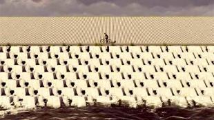 Artist impression van de vernieuwde Afsluitdijk (foto Rijkswaterstaat)