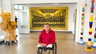 Kunstenaar Rob Scholte in het Rob Scholte Museum in juli 2017 (foto Leo Vogelzang)