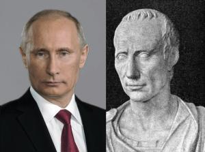(L) Official Portrait of President Vladimir Putin (foto Kremlin), (R) Bust of Julius Caesar(foto Vatican Museums)