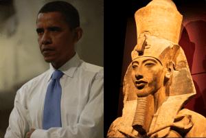 (L) Portrait of former President Barack Obama (foto Elisabeth Cromwell) (R) Bust of Pharaoh Akhenaten in the Seattle Museum (foto Les Williams:Seattle Museum of Art}
