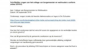 Schriftelijke vagen aan het College van Burgemeester & Wethouders (foto PVV Den Helder)