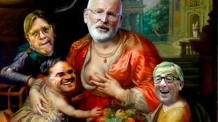 Guy Verhofstadt, Mark Rutte, Frans Timmermans & Jean-Claude Juncker in innige Europese omhelzing (foto Twitter)