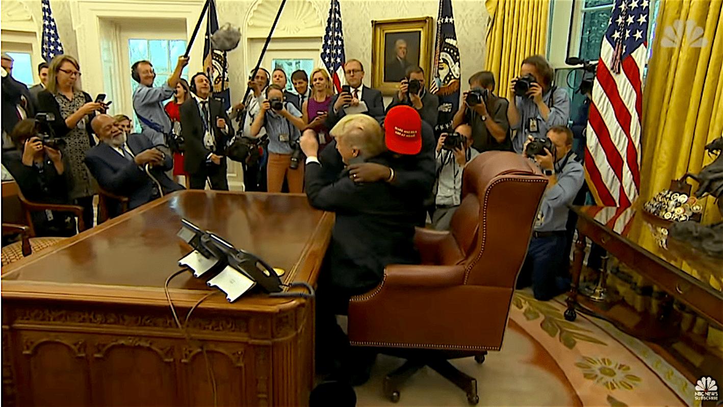 Kanye West Hugging President Trump