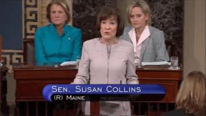 Susan Collins tijdens haar speech (5-10-18)