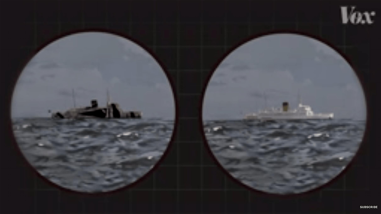 Dazzle ship & Normal ship compared (foto YouTube)