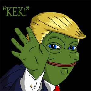 A typical 'Kek' meme combining Donald Trump and Pepe the Frog