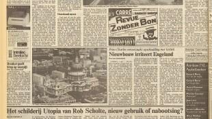 Bas Roodnat - Het schilderij Utopia van Rob Scholte, nieuw gebruik of nabootsing, NRC Handelsblad, 7 december 1987