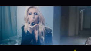 Celine blowing satanic powder in the nursery