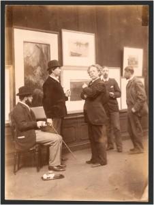 Commissie van Beheer over de Kunstzalen van Arti et Amicitiae, v.l.n.r. Geo Poggenbeek, Nicolaas Bastert, F.M. Heyl, Hein Kever en George Breitner, 30 maart 1893