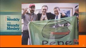 Jordan Peterson met Pepe (Screenshot CBC News 28-1-2018)