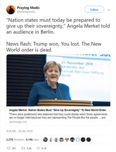 Merkel blijft preken voor de New World Order