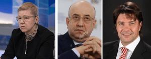 Left to right Senator Yelena Mizulina, Deputy Vladimir Pligin and Alexander Yushchenko, spokesman Communist Party Russian Federation