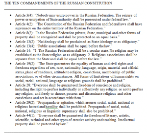 The ten commandments of the Russian constitution