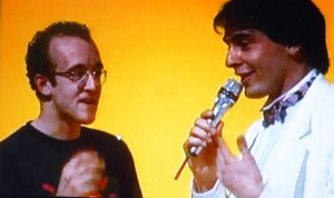 'Mister Fantasy', interview by Carlo Massarini and live painting, Italian TV, RAI, 31 May 1984 (foto Chris Reinewald/Keith Haring Foundation)