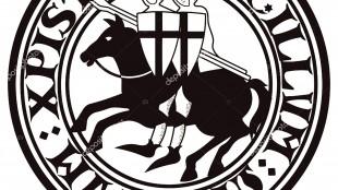 Teken van de Knight Tempeliers. Twee knight Crusader te paard met speren, in een cirkel uit de tekst van de slogan van de Tempeliers (foto depositphotos)