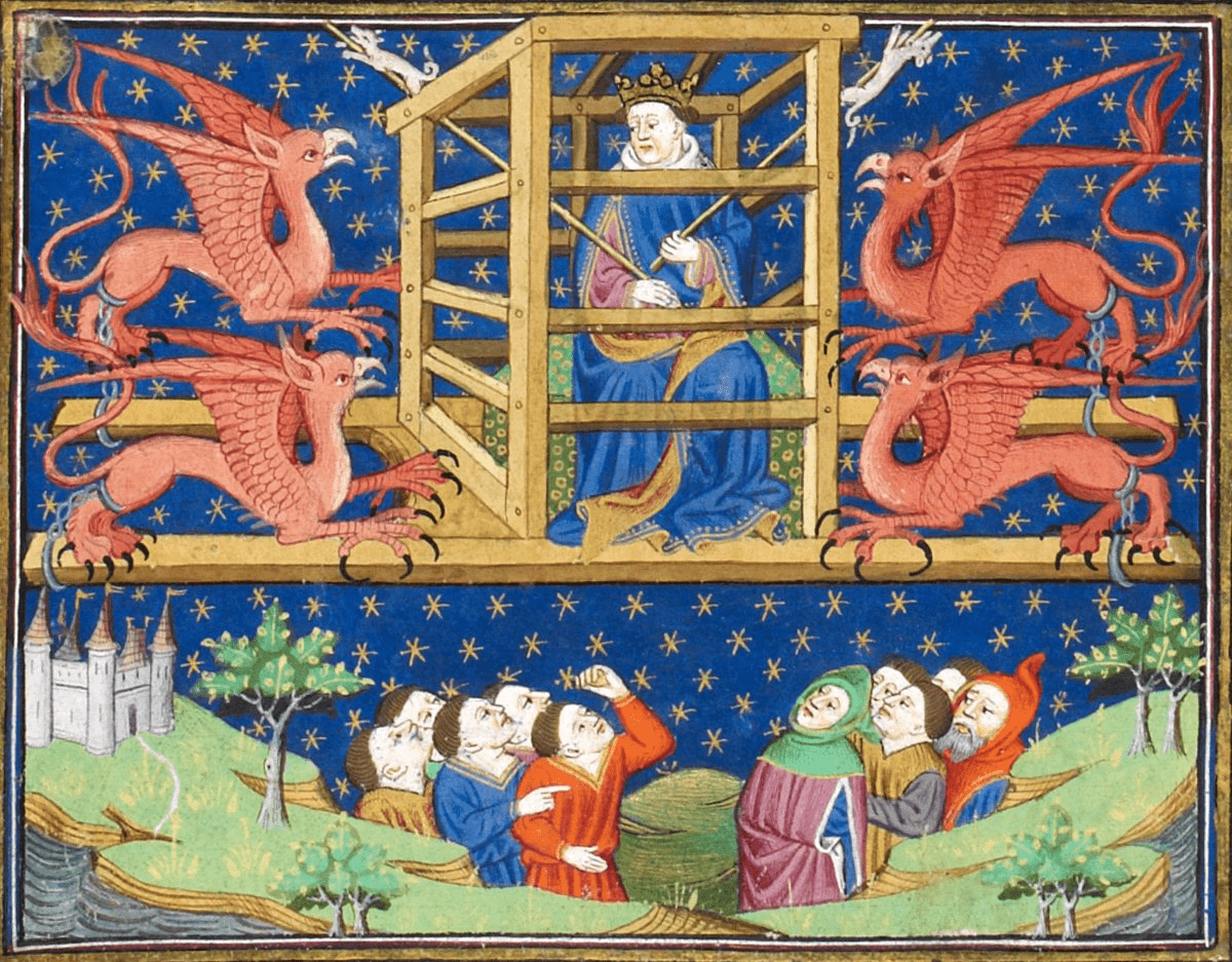 Alexander the Great in his griffin-powered flying chariot, Roman d'Alexandre, 1444-1445 (BL, Royal 15 E VI, f. 20v) (foto Discarding Images)