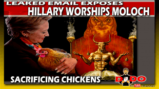 Sacrificing a Chicken to Moloch Hillary Clinton (foto Tools for freedom)