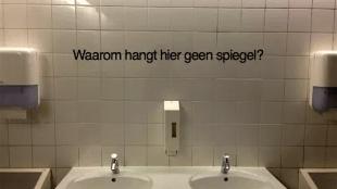 Waarom hangt hier geen spiegel? (foto zenoemenhetdesignthinking.com)
