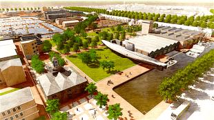Het hoofdgebouw van het museum is verdwenen, naast de Tonijn een grasveld met 'golven' (foto West8)
